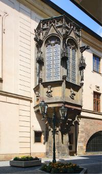 Prague - Karolinum, medieval building of university - gothic oriel